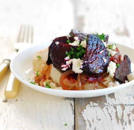 English Muffins with Roasted Beetroot, Balsamic Onions & Feta